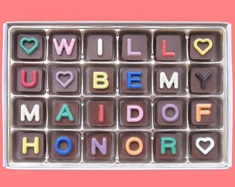 Will You Be My Maid of Honor Chocolate Gift Box Fun Ask Invite MOH Gift Bridesmaid Proposal Invitation Bridal Party Wedding Jelly Bean Cube