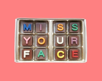 Long Distance Boyfriend gift for Man Friendship Relationship I Miss You Chocolate Romantic Fun Idea Miss Your Face Jelly Bean Chocolate Cube