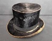 Antique Victorian Top Hat Black Distressed 1800s