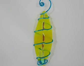 Yellow Fused Glass -  Surfboard Ornament with Swirls and Dichro