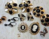 Vintage Jewelry Lot / Brooch Bouquet Filler / Altered Art or Assemblage Pieces / Crafting Jewelry / Cameo / Black and Gold