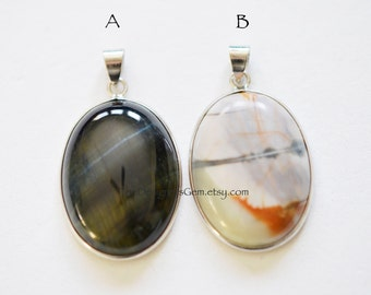 Large Oval Tiger Eye and Agate Smooth Polished Sterling Silver Pendants 30 x 23mm