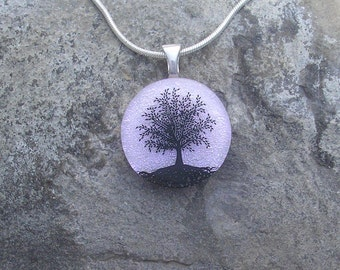Pink and Silver Tree of Life Necklace Dichroic Fused Glass Pendant