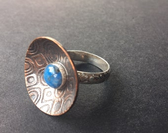 Copper and stering silver ring with denim blue lapis gemstone