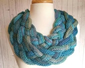 Braided Cowl in Tidal Colors, Aqua Blue, Teal, Green, Turquoise