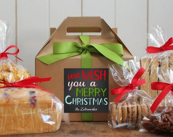 Set of 8 - Holiday Gift Boxes - We wish you a Merry Christmas Label // Personalized Gift Boxes // Baked Goods Gift Boxes //  Cookie Boxes