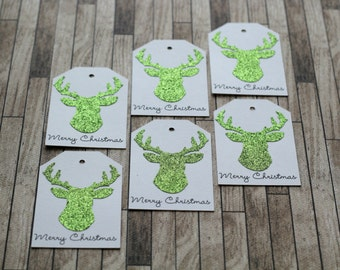 Sparkled Green Deer Head Silhouette Christmas Tag Holiday Gift Tag - Set of 6