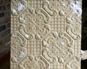 "12"" Antique Tin Ceiling Tile -- Butterscotch Patina - Some White Paint -- Repeating Flower Design"
