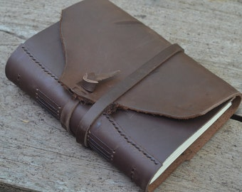 """ROUGH & SMOOTH: One-of-a-kind Leather Journal, handmade, 5X7"""", Rustic, LINED or plain"""