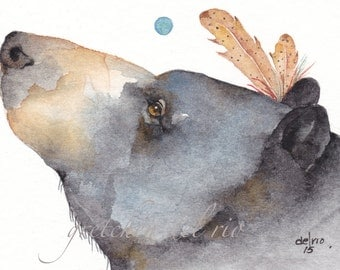 Black BEAR aceo PRINT watercolor giclee 'Standing Bear' native american feathers spirit animal - Free Shipping