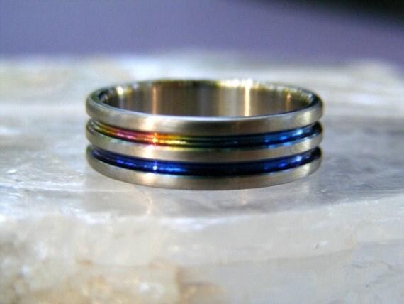 NEW Titanium Rainbow Thin Blue Line Abyss Ring Wedding Band