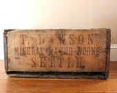 Rustic Charm.. Vintage T. Dawson Mineral Water Works Settle, Wooden Crate, Organization