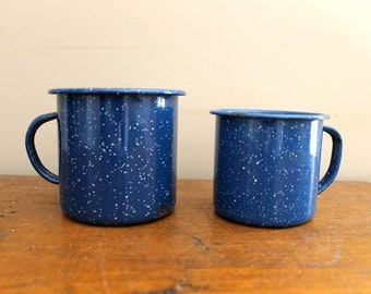 Camping... Set of Vintage Blue Enamelware Coffee Mugs