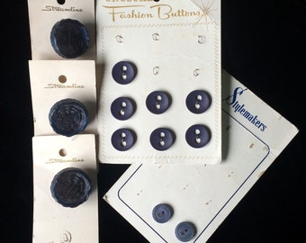 Vintage Lot Navy Blue Buttons on Original Cards