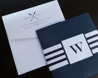 Nautical Navy Stripe with Oar Monogram Printed Pocketfold Wedding Invitation