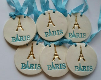 French Eiffel Tower Paris French Home Decor Aqua and Gold French Design