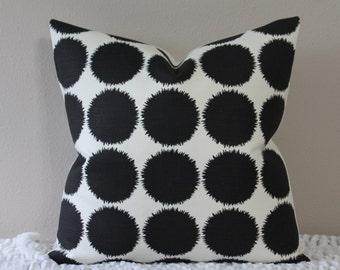 "SALE - SET Of TWO 20"" x 20"" -F. Schumacher Studio Bon Fuzz Dot - Black/Light Ivory - Pillow Covers"
