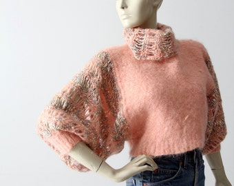 vintage cropped sweater, lace sleeve knit pullover