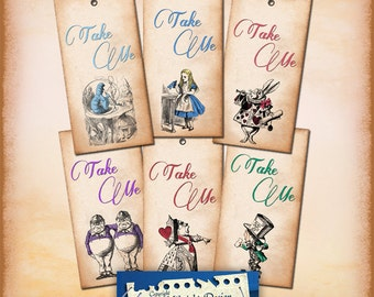 Alice Vintage Tags No 18 TAKE ME , Alice in Wonderland Tags, labels, perfect for parties, presents and invitations.