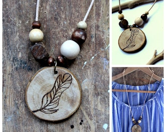 Wood necklace burning feather / nature lovers