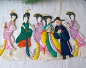 Vintage Paper and Silk Ornaments Geisha Girls Chinese Man Oriental Decor 1960s