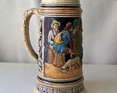 Vintage Beer Stein Beer Mug 1 L.  Ladies and Gents Tavern Scene Man Cave Vintage 1960s