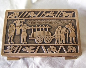 Vintage Bronze Cigarette Box Casting Depicts Men Carrying Arms To The Ships Nordic Lore Vintage 1950s