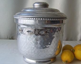 Vintage Ice Bucket Hammered Aluminum Double Wall Insulated Ice Bucket Cocktail Ice Bucket Mid Century Bar 1950s