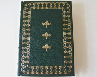 Vintage Last Of The Mohicans James Fenimore Cooper 22k Gold Accents Full Leather Bound Franklin Library Hardcover Book Printed 1979