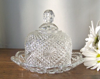 Vintage Butter Dish Leaded Crystal Avon Butter Dish 1970s