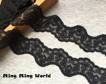 Vintage Lace Trim - 3 yards Black Flower Lace Trim (L651)