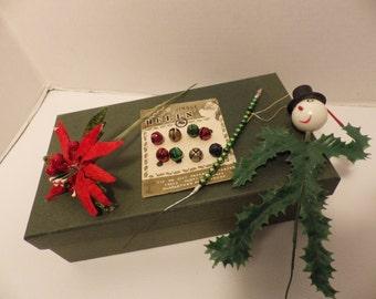 1940s Christmas Crafting supplies- mercury glass pick, mini jingle bells, vintage florist picks