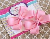 Pink Pigtail Bows, Pink Piggy Set, Infant Bows, Baby Bows, Toddler Bows, 3 Inch Bows
