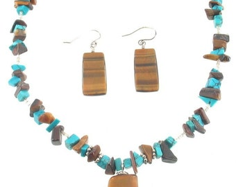 Vintage Turquoise Tigers Eye Mixed Bead Chunk Necklaces Sterling Earrings
