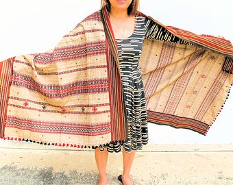 Handloom Woolen Shawl, Red and Brown from Gujarat, India