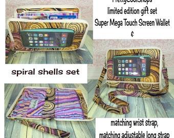 Custom Wallet Gift Set - Woman's Wallet - Clutch - Crossbody - iPhone 7 Plus wallet - Galaxy Wallet - Shells, MEGA Touch Screen Wallet