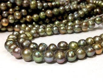 Full Strand 8 to 9 mm Large Hole Freshwater Pearl Potato Beads - Green - 1.6 mm hole (G5801W48)
