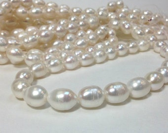 Large Rice Pearl A Grade 13 to 16 mm Freshwater Pearl Rice Beads - White Pearl Full Strand (ET1752W95)