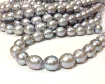 10 x 11 to 12 mm Freshwater Pearl Rice Beads - Silver Gray Pearl Full Strand (ET0458W58)