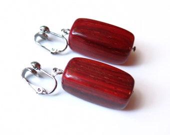 Wood Rectangle Dangle Clip On Earrings - Non-Pierced Ears