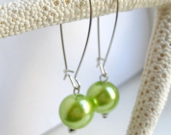 Green Faux Pearl Kidney Wire Earrings