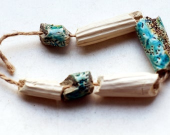 Oceans of unthinking night -- a set of 6 antique-looking ceramic  beads
