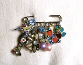 Nathalie Lete Bird and Butterfly Painting Brooch - Charm Collection - Hippie Chic - Founded Objects - Treasure Lot