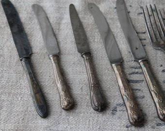 Set of 12 silver French cutlery pieces - rustic patina