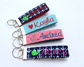 Personalized Keychain / Design your own Monogrammed  Key Fob with Mini Design /  Wristlet Quatrefoil Fabric Keychain