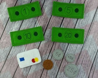 Felt Play Money, Learning Game, Felt dollar bills, coins, credit card