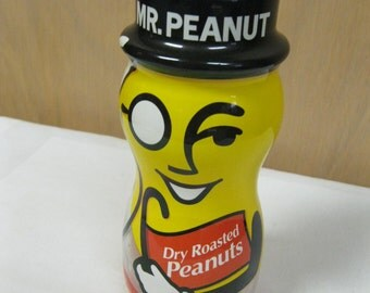 First Edition Planters Mr. Peanut Fun Storage Display Collectible Decorative Dry Roasted Peanuts Original Glass Store Jar Vtg. Advertisement