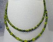 Pale green double strand necklace