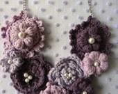 CROCHET PATTERN Purple Puff Flower Necklace, crochet necklace,crochet pattern mori necklace,romantic,flower necklace, puff flower
