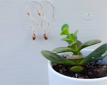Labradorite and Copper Swirl Earrings